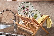 2-Tier Bambù Piatto Asciugatura rack, Pieghevole Cucina Dish Drainer