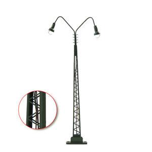 3pcs Model Railway HO Gauge 1:87 Two-heads Lights Lattice Mast Lamp Track Light