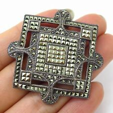 Vtg Judith Jack 925 Sterling Silver Marcasite Gemstone Large Square Pin Brooch