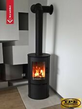 Modern Contemporary Free Standing Stove Curved Wood Burner 8kw + FREE glass base