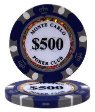 100 Purple $500 Monte Carlo 14g Clay Poker Chips New - Buy 2, Get 1 Free