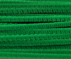 """Lot of 100 Green Wired Chenille Stems Craft Pipe Cleaners 12"""" x 3mm 1/8"""" Wide"""
