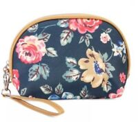 Women's Navy Floral Cosmetic Make Up Bag Pouch