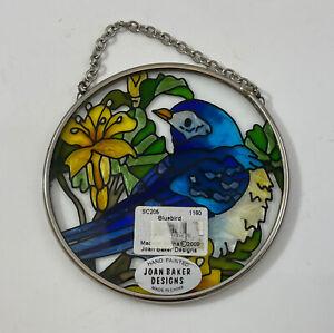 "Joan Baker Hand Painted Stained Glass Window Suncatcher Bluebird 3.5"""