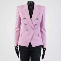 BALMAIN 2150$ Double Breasted Blazer In Pink Wool Twill