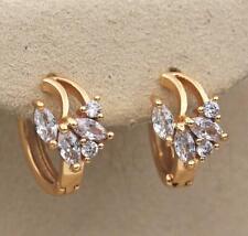 18K Yellow Gold Filled Earrings White Topaz Zircon Flower Jade Ear Hoop Pretty