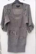 Amy's Paris Ladies Grey knit top mini dress Size S/M