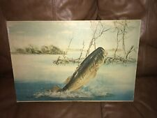 New listing Vintage Shakespeare Fishing Tackle Sales Lures Display Sign By Robert Chappell