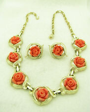 Vintage Signed Sarah Coventry Faux Coral Rose Flower Necklace & Earrings Set