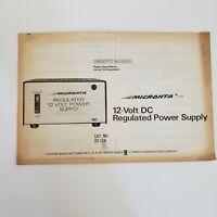 Vintage Micronta 12-Volt DC Regulated Power Supply Manual 22-124 Radio Shack