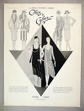 Chez Cyber Fashion Design PRINT AD - 1926 ~~ Paris dress designer ~ Madame Cyber