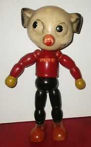1930 Pete The Pup Dog Toy Figure Jointed JL Kallus Wood Doll Composition Head