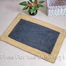 CECILE BRAIDED NATURAL JUTE NAVY BLUE FLOOR RUG MAT (XXS) 70x140cm **FREE DELIVE