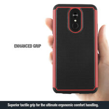 For LG STYLO 4 Rugged Bumper Case Exact Design Shock Absorbing Cover Black/Red