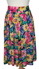 Vintage St Michael Midi Skirt Size 16 1990s. Summer Floral Yellow Pink Print.
