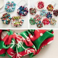 Women Christmas Scrunchies Velvet Hair Ring Ropes Xmas Geometric Print Hair Ties