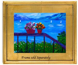 Hills Flowers Boats  Natasha Petrosova Original  Painting Impressionism 746