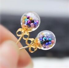 Clear ball shaped women stud earrings with mixed colour beads filling