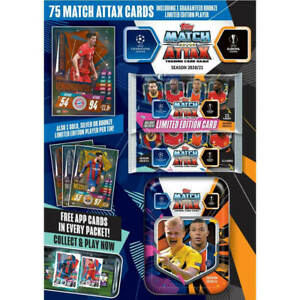 2020 2021 Match Attax UEFA Champions League Collector Pack 75 Cards +Tin Pack