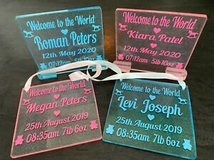 New Baby Birth Details Plaque. Welcome to the World with Name Date Time & Weight