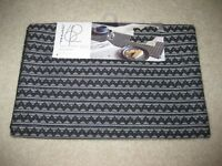 BLACK ZIGZAG PROJECT 62 TARGET TABLE RUNNER  COTTON 14X72 BLACK GRAY SILVER NEW