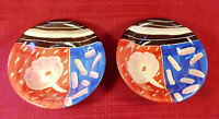 Italy Hand Painted Colorful Pottery Bowls Red Blue Brown White 8 Inch Set of 2