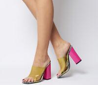 Womens Ego Brooke Transparent Block Heel Mules Grey Snake Neon Pink Heels