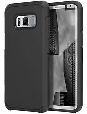 SAMSUNG GALAXY S8 G950 FULL BLACK ASTRO ARMOR IMPACT HYBRID CASE 2-PIECE COVER