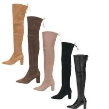 Lady Over The Knee High Thigh Boots Pointy Toe Block Heel Shoes 46 47 48 Party L