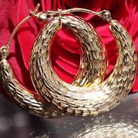 """14k yellow gold hoop earrings 1.0"""" diamond cut vintage handmade 1.7gr"""