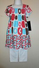 Disorderly Kids Girls Ruched Bodice Dress & Leggings Set Multi-Color 4 NWT