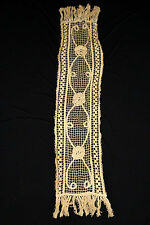 """French Antique Edwardian-1920'S Cotton Hand Crocheted Table Piece 51"""" L X 12"""" W"""