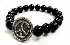 Silver Peace Charm Stretch Onyx  Bracelet With Black Diamond by Sacred Angels