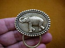 (E-542) lucky Elephant oval brass Eyeglass pin pendant ID badge holder Loop