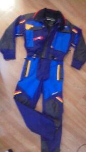 Spyder Rare Vtg Tommy Moe One Piece Blue Ski Suit Men's Sz M Suspenders