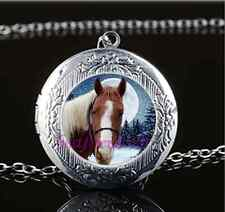 White Horse Photo Cabochon Glass Tibet Silver Chain Locket Pendant Necklace
