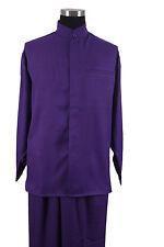 Men's 2-piece Mandarin/ Banded Collar Casual Shirt Set /Walking Suit M-2826
