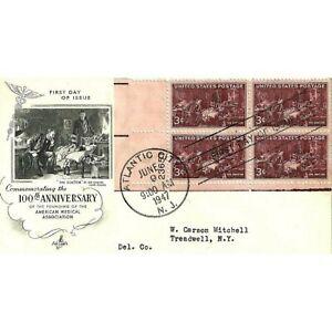U.S. 1947 AMERICAN MEDICAL ASSOC. Margin Plate # Block of 4 #949 on ArtCraft FDC