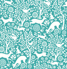 Woodland Meadow Animals Wallpaper by A Street Prints - Teal FD22731