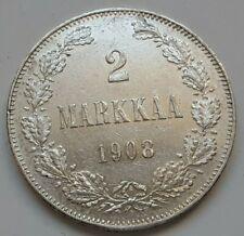 Russia / Finland 2 Markkaa 1908, KM# 7.2 Silver coin, XF - SCARCE!!