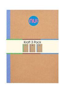 Nu Kraft Printed Tape Spine Notebook Pack of 3