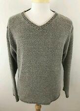 The Territory Ahead Men's V-Neck Cotton Linen Knit Sweater Gray Stripe Sz M