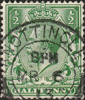 "GB - KGV - 1913 "" KNOTTINGLEY "" (West Yorkshire) CDS on SG351 1/2d green"