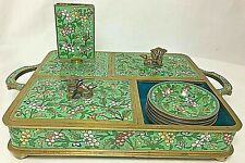 New listing Beautiful Vintage Green Cloisonne Enameled Brass Opium Set Complete w/Six Dishes