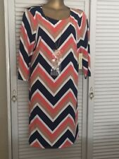 Gorgeous Navy Beige White Pink Chevron Design Dress 3/4 Sleeves Gold Necklace 2X