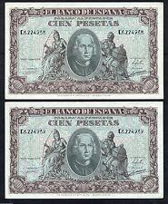 F.C.  PAREJA CORRELATIVA 100  PESETAS 1940   SERIE  C  S/C -FLOJO DE PICOS
