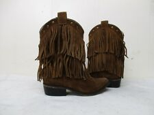 Smoky Mountain Brown Suede Leather Fringe Cowboy Boots Youth Size 12.5 D