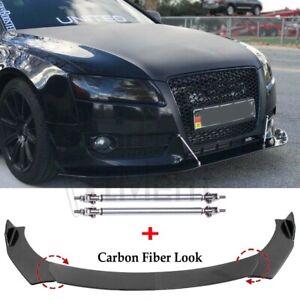 For Audi A3 A4 A5 A7 Q3 8P RS5 S3 S4 Carbon Fiber Front Lip Splitter +Strut Rods