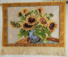 Tapestry Wall Hanging SUN FLOWERS Fine Art Floral Decor Woven Finished to Hang