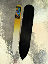 """Gold Czech Crystal Glass Nail File with Stacked Dichroic Glass 3 1/2"""" Purse New"""